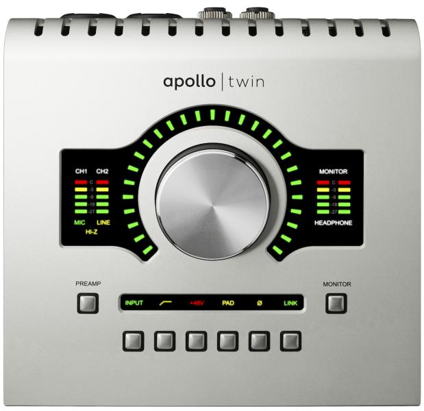 The Universal Audio Apollo Twin's big knob controls all I/O levels.