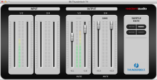 The Resident Audio T4's Thunderbolt T4 Panel software controls the mix and sample rate.